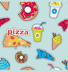Pizza doughnut cocktail smoothie ice ceam xoxo vector