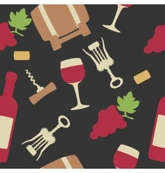 Seamless pattern with set wine icon Bottle glass vector image vector image