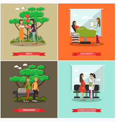 Set of maternity hospital posters in flat vector