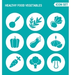 set of round icons white Healthy food vegetables vector image