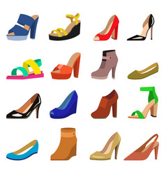 Set of womens shoes flat design vector