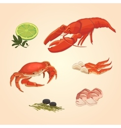 Set sea food crab and crawfish vector image