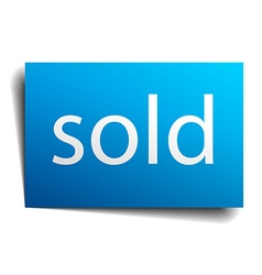 Sold blue paper sign on white background vector