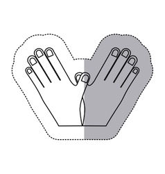 Sticker contour symbol of breast cancer and hands vector