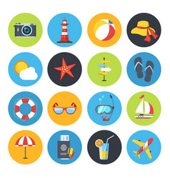 summer icon set sunrise sea and vacation vector image
