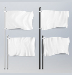 Various clean empty white flags and banners vector