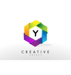 y letter logo corporate hexagon design vector image vector image