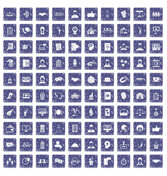 100 coherence icons set grunge sapphire vector