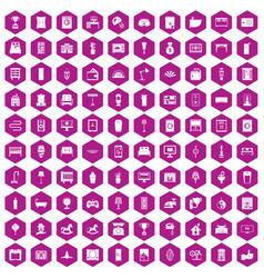 100 interior icons hexagon violet vector