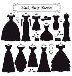 Silhouette of black party dressesfashion flat vector