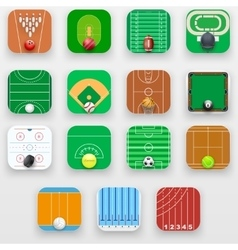 Set of square icons with sports field end vector
