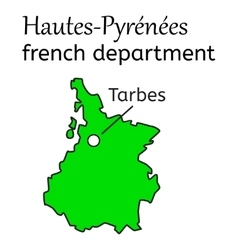 Hautes-pyrenees french department map vector