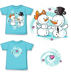 Cute snowman in love shirt vector