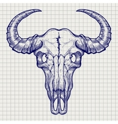Ball pen buffalo skull sketch vector
