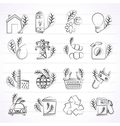 Green ecology and environment icons vector