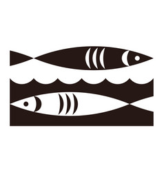 Two fish and waves icon vector