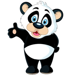 Cute baby panda rising his hand vector