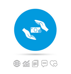 protection money sign icon hands protect cash vector image