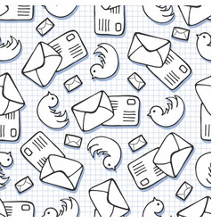 Twitter background doodle birds and letter mail vector
