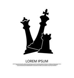 Black chess pieces icon - background with chess vector