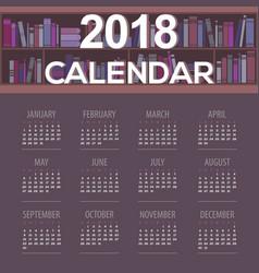 2018 dark purple book shelves library calendar vector