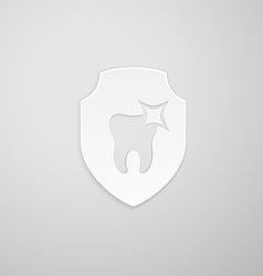 Tooth icon in the form of a shield vector