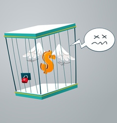 flying dollar trapped in a cage vector image