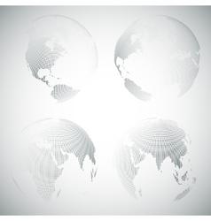 Set of dotted world globes light design vector image