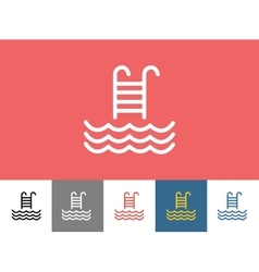 Pool icon isolated waves summer or stairs vector