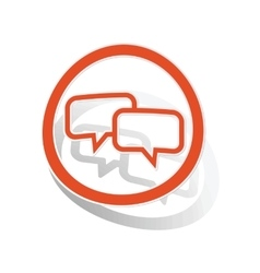Chat sign sticker orange vector