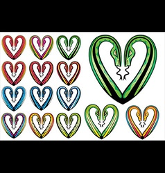 snake bodies romantic heart shape vector image