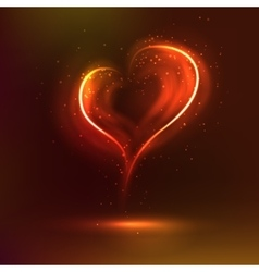 Valentine heart glowing romantic flame in dark vector