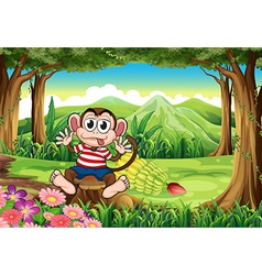 A bloated monkey above the stump at the forest vector image