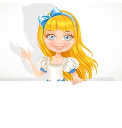 Beautiful cute girl hold big white banner vector image vector image