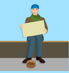 Beggar in casual cloth with empty billboards vector