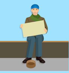 Beggar in casual cloth with empty billboards vector