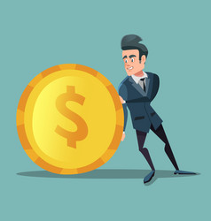 Businessman with money man pushes big golden coin vector