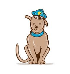 Cartoon police dog with cap sitting vector