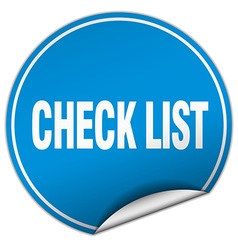 Check list round blue sticker isolated on white vector