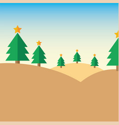 Christmas tree on mountain vector