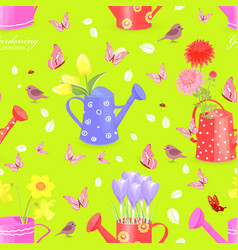 Colorful seamless texture with fresh flowers in vector