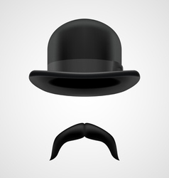 funny gentleman with moustaches and bowler hat vector image vector image
