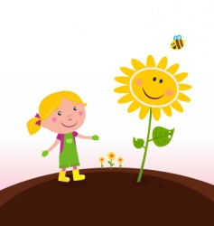 Gardener child with sunflower vector
