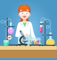 girl scientist in chemical laboratory vector image vector image