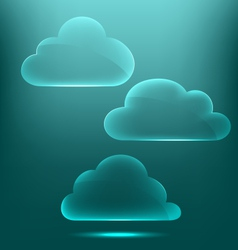 Glassy infographic clouds icons on cyan vector