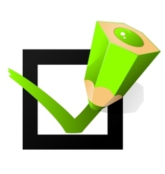Green pen marking on the check box vector