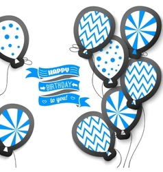 Happy birthday retro postcard with balloons vector