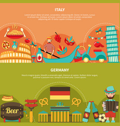 Italy germany horizontal banners vector