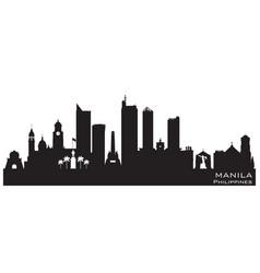 Manila philippines city skyline silhouette vector
