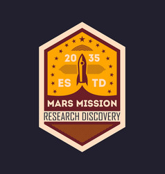 Martian space mission vintage isolated label vector